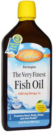Norwegian, The Very Finest Fish Oil, Natural Lemon Flavor, 16.9 fl oz (500 ml) by Carlson Labs, 補充劑,efa omega 3 6 9(epa dha),魚油 HK 香港