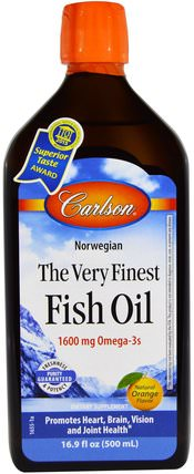Norwegian, The Very Finest Fish Oil, Natural Orange Flavor, 16.9 fl oz (500 ml) by Carlson Labs, 補充劑,efa omega 3 6 9(epa dha),魚油,魚油液體 HK 香港