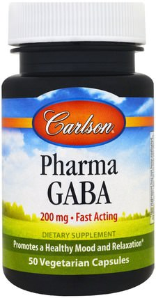 Pharma GABA, 200 mg, 50 Veggie Caps by Carlson Labs, 補充劑,gaba(γ氨基丁酸) HK 香港