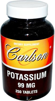 Potassium, 99 mg, 250 Tablets by Carlson Labs, 補品,礦物質,葡萄糖酸鉀 HK 香港