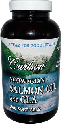 Salmon Oil and GLA, 240 Softgels by Carlson Labs, 補充劑,efa omega 3 6 9(epa dha),魚油,鮭魚油 HK 香港