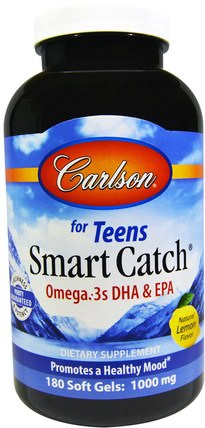 Smart Catch, Natural Lemon Flavor, 180 Soft Gels by Carlson Labs, 補充劑,efa omega 3 6 9(epa dha),dha,epa HK 香港