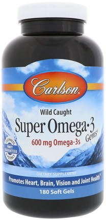 Super Omega-3 Gems, 180 Soft Gels by Carlson Labs, 補充劑,efa omega 3 6 9(epa dha),dha,epa,魚油軟膠囊 HK 香港