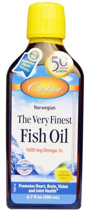 The Very Finest Fish Oil, Norwegian, Lemon, 6.7 fl oz (200 ml) by Carlson Labs, 補充劑,efa omega 3 6 9(epa dha),魚油 HK 香港