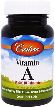 Vitamin A, 15.000 IU, 240 Soft Gels by Carlson Labs, 維生素,維生素a HK 香港