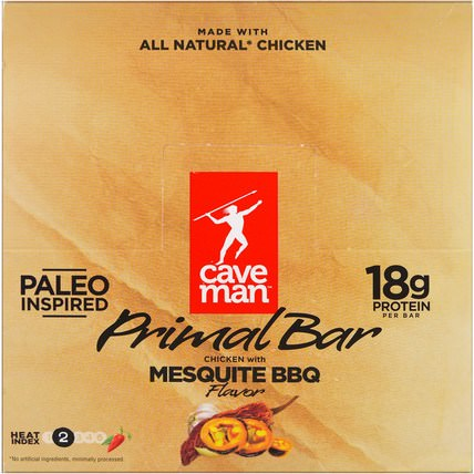 Primal Bar, Chicken with Mesquite BBQ Flavor, 12 Bars, 1.5 oz (42 g) Each by Caveman Foods, 補充劑,營養棒,食物 HK 香港