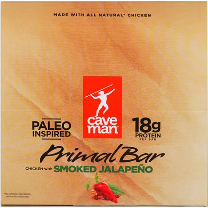 Primal Bar, Chicken with Smoked Jalapeno, 12 Bars, 1.5 oz (42 g) Each by Caveman Foods, 補品,營養棒,小吃 HK 香港