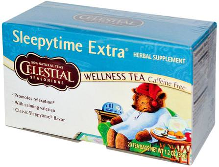 Wellness Tea, Sleepytime Extra, Caffeine Free, 20 Tea Bags, 1.2 oz (35 g) by Celestial Seasonings, 天體調味料,天體調味料困茶,天體調味料保健茶 HK 香港