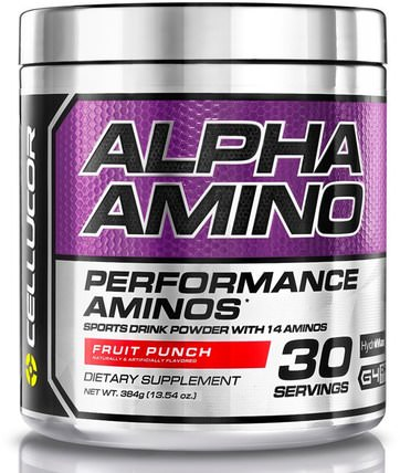 Alpha Amino, Performance BCAAs, Fruit Punch, 13.4 oz (381 g) by Cellucor, 補充劑,氨基酸,bcaa(支鏈氨基酸) HK 香港
