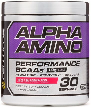 Alpha Amino, Performance BCAAs, Watermelon, 13.4 oz (381 g) by Cellucor, 補充劑,氨基酸,bcaa(支鏈氨基酸) HK 香港