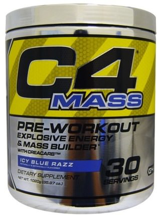 C4 Mass, Pre-Workout Explosive Energy & Mass Builder, Icy Blue Razz, 1020 g (35.97 oz) by Cellucor, 運動,肌酸,鍛煉 HK 香港