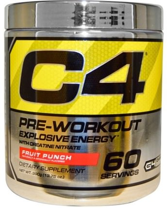 C4, Pre-Workout, Explosive Energy, Fruit Punch, 13.75 oz (390 g) by Cellucor, 運動,肌酸,鍛煉 HK 香港