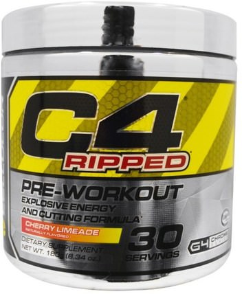 C4 Ripped, Pre-Workout, Cherry Limeade, 6.34 oz (180 g) by Cellucor, 運動,肌酸,鍛煉 HK 香港