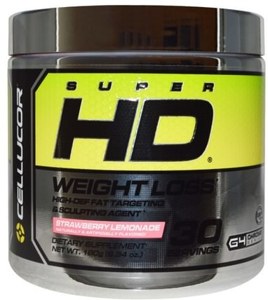 Super HD, Weight Loss, Strawberry Lemonade, 6.34 oz (180 g) by Cellucor, 健康,飲食,減肥,脂肪燃燒器 HK 香港