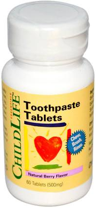 Essentials, Toothpaste Tablets, Natural Berry Flavor, 500 mg, 60 Tablets by ChildLife, 沐浴,美容,牙膏,嬰兒及兒童產品 HK 香港
