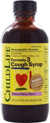 Formula 3, Cough Syrup, Natural Berry Flavor, 4 fl oz (118.5 ml) by ChildLife, 補品,順勢療法,感冒感冒咳嗽 HK 香港