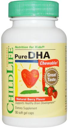 Pure DHA Chewable, Natural Berry Flavor, 90 Soft Gel Caps by ChildLife, 補充劑,efa omega 3 6 9(epa dha),dha chewable,兒童健康,兒童補品 HK 香港