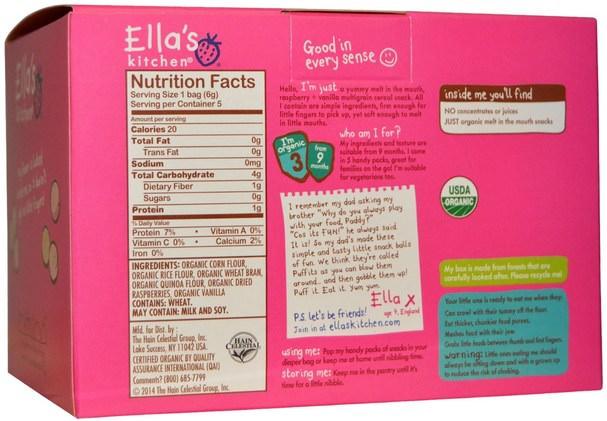 兒童健康,嬰兒餵養,嬰兒零食和手指食品,幼兒零食,兒童食品 - Ellas Kitchen, Raspberry + Vanilla Puffits, 5 Handy Bags, 1.06 oz (6 g) Each
