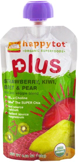 兒童健康,嬰兒餵養,食物,兒童食品 - Nurture (Happy Baby), Happytot, Fruit and Veggie Blend, Plus, Strawberry, Kiwi, Beet & Pear, 4.22 oz (120 g)
