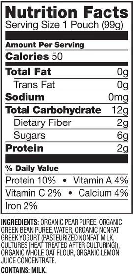 兒童健康,嬰兒餵養,食物,兒童食品 - Plum Organics, Organic Baby Food, Stage 2, Pear, Green Bean & Greek Yogurt, 3.5 oz (99 g)