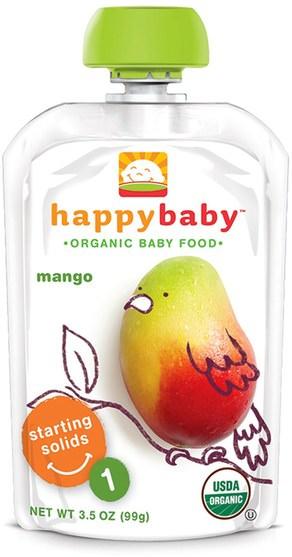 兒童健康,嬰兒餵養,食物 - Nurture (Happy Baby), Organic Baby Food, Stage 1, Mango, 3.5 oz (99 g)