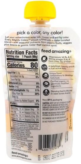 兒童健康,嬰兒餵養,食物 - Plum Organics, Tots, Mighty Colors, Yellow, Pineapple, Banana, Navy Bean, Yellow Bell Pepper & Oat, 3.5 oz (99 g)