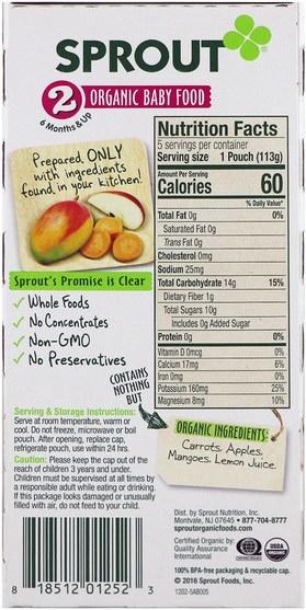 兒童健康,嬰兒餵養 - Sprout Organic Baby Food, Stage 2, Carrot, Apple, Mango, 5 Pouches, 4 oz (113 g)
