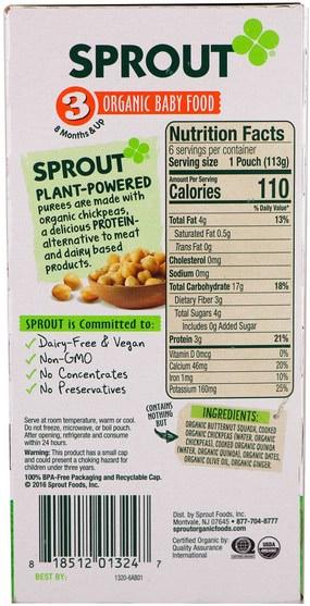 兒童健康,嬰兒餵養 - Sprout Organic Baby Food, Stage 3, Butternut Chickpea, Quinoa & Dates, 6 Pouches, 4 oz (113 g) Each