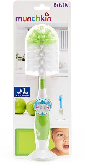 兒童健康,兒童食品,嬰兒餵養和清潔 - Munchkin, Bristle Bottle Brush, Green, 1 Brush