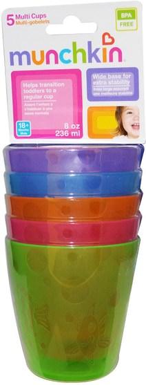 兒童健康,兒童食品,嬰兒餵養和清潔 - Munchkin, Multi Cups, 18+ Months, 5 Cups, 8 oz (236 ml) Each