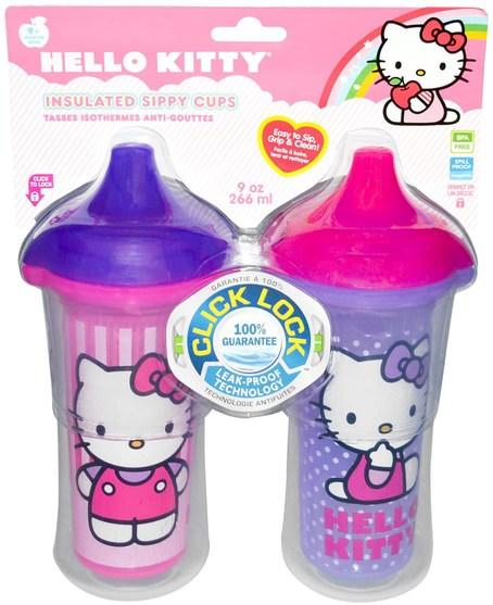 兒童健康,兒童食品,廚具,杯碟碗 - Munchkin, Hello Kitty, Insulated Sippy Cups, 2 Cups, 9 oz (266 ml) Each