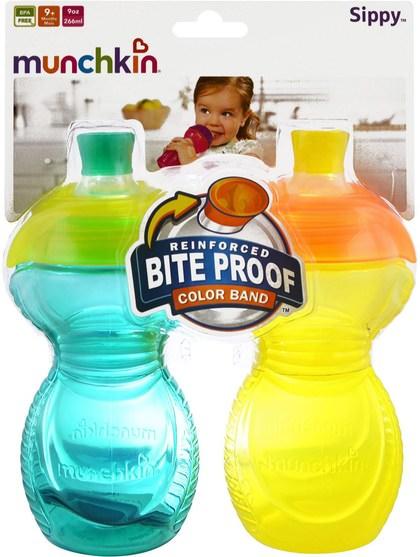兒童健康,兒童食品 - Munchkin, Reinforced Bite Proof Color Band, Sippy Cups, 9+ Months, 2 Pack, 9 oz (266 ml) Each