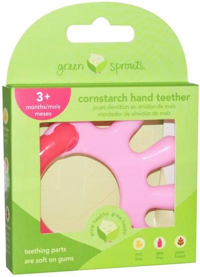 兒童健康,兒童玩具,出牙玩具 - iPlay Green Sprouts, Cornstarch Hand Teether, Pink, 1 Teether