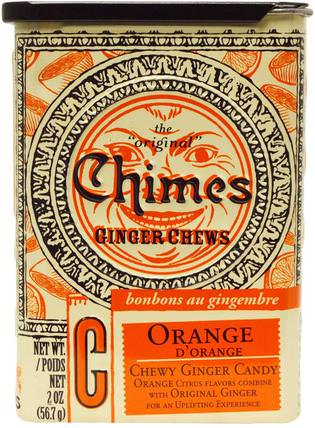 Ginger Chews, Orange, 2 oz (56.7 g) by Chimes, 食物,小吃,糖果 HK 香港