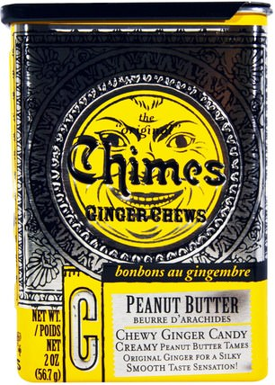Ginger Chews, Peanut Butter, 2 oz (56.7 g) by Chimes, 食物,小吃,糖果 HK 香港