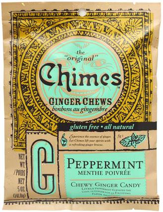 Ginger Chews, Peppermint, 5 oz (141.8 g) by Chimes, 食物,小吃,糖果 HK 香港