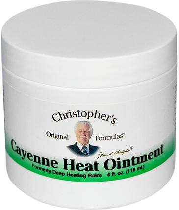 Cayenne Heat Ointment, 4 fl oz (118 ml) by Christophers Original Formulas, 香草,辣椒(辣椒) HK 香港