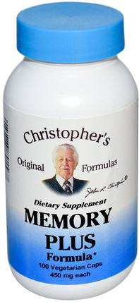 Memory Plus Formula, 450 mg, 100 Veggie Caps by Christophers Original Formulas, 健康,注意力缺陷障礙,添加,adhd,大腦,記憶 HK 香港
