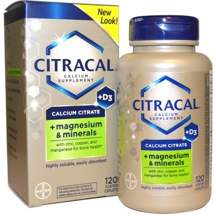 Calcium Citrate, + Magnesium & Minerals, +D3, 120 Coated Caplets by Citracal, 補品,礦物質,鈣 HK 香港