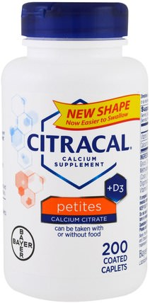 Calcium Supplement +D3, Petites, 200 Coated Caplets by Citracal, 補充劑,礦物質,鈣維生素d HK 香港