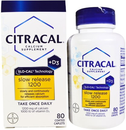 Calcium Supplement, Slow Release 1200 + D3, 80 Coated Tablets by Citracal, 補品,礦物質,鈣 HK 香港