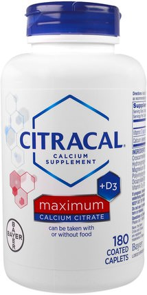 Maximum, +D3, 180 Coated Caplets by Citracal, 補充劑,礦物質,鈣維生素d HK 香港