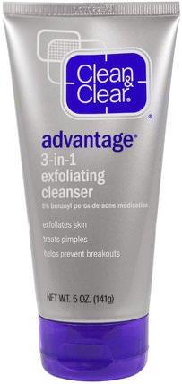 Clean & Clear, Advantage, 3-in-1 Exfoliating Cleanser, 5 oz (141 g) 健康,痤瘡,皮膚類型的粉刺容易皮膚,美容,面部去角質