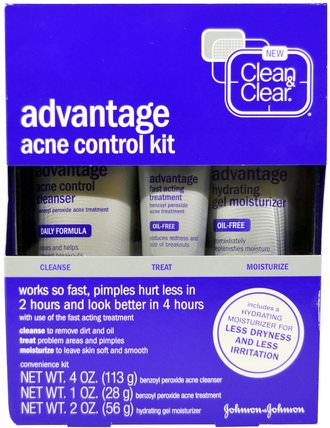 Advantage Acne Control Kit, 3 Piece Kit by Clean & Clear, 美容,面部護理,面霜乳液,精華素,潔面乳 HK 香港