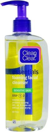 Clean & Clear, Essentials, Foaming Facial Cleanser, 8 fl oz (240 ml) 美容,面部護理,洗面奶