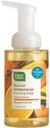 Natural Antibacterial Foaming Soap, Orange Vanilla, 9.5 fl oz (280 ml) by Clean Well, 洗澡,美容,肥皂,泡沫肥皂 HK 香港