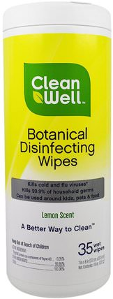 Botanical Disinfecting Wipes, Lemon Scent, 35 Wet Wipes, 7 in x 8 in (117. cm x 20.3 cm) by Clean Well, 家庭,家庭清潔工 HK 香港