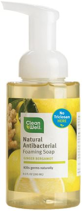 Natural Antibacterial Foaming Soap, Ginger Bergamot, 9.5 fl oz (280 ml) by Clean Well, 洗澡,美容,肥皂,泡沫肥皂 HK 香港