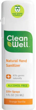 Natural Hand Sanitizer, Alcohol Free, Orange Vanilla, 1 fl oz (30 ml) by Clean Well, 洗澡,美容,洗手液 HK 香港
