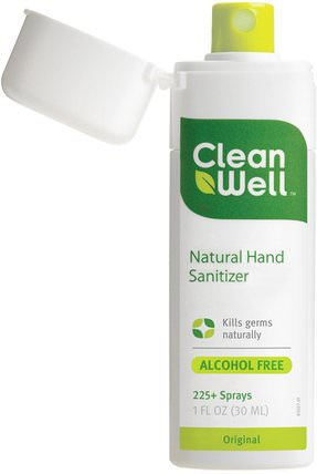 Natural Hand Sanitizer, Alcohol Free, Original, 1 fl oz (30 ml) by Clean Well, 洗澡,美容,洗手液 HK 香港